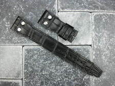 22mm Black Grain Leather Strap Short watch Band with Rivet for BIG PILOT S
