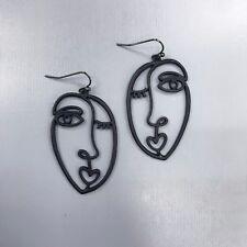 Unique Matte Black Finished Picasso Face Design Drop Dangle Hook Earrings