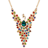 Color Crystal Inlay Diamond Peacock Choker Statement Bib Necklace Pendant Chain