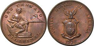 1938-M US/Philippines 1 Centavo ~ Choice AU ~ Allen#3.02 ~ MX995