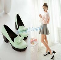 Platform Bowknot Pumps Loafer Block Womens High Heel New Shoes Mary Jane Fashion
