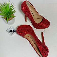 """Red Leather Platform 5.5"""" High Heels Cut Out Metallic Design Sz 7.5 Party Club"""