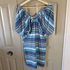 Cristinalove Womens Dress Size Approx 12/14 Kimono Sleeves Blue Stretchy
