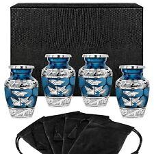Heavenly Peace Dark Blue Wings Small Keepsake Urns - Set of 4 - with Case