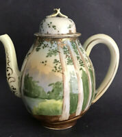 """7"""" Antique Japanese Raised Gold Encrusted Hand Painted Scenic Landscape Teapot"""