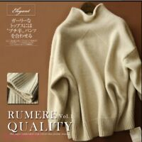 Womens Cashmere Wool High-Necked Sweater Long Sleeve Loose Coat Tops Fashion