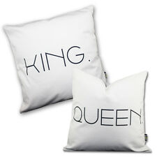 NEW 2pc Cushion Cover Set Decorative Throw Pillow Couples King Queen Love Gift