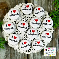 """12 Volleyball Pins 1 1/4"""" PINBACK Buttons Award Party Favors USA NEW DecoWords"""