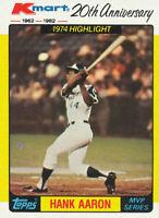 1982 Topps Kmart MVP Series Hank Aaron #43 Atlanta Braves Card