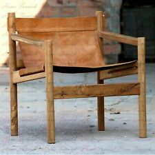 Solid Teak and Leather Sling Chair Brown Leather Handmade Wander-loot Genoa