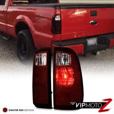 08-16 Ford F250 F350 F450 SuperDuty SD Dark Smoke Red Tail Light Brake Lamp Pair