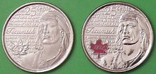 2012 Canada Colored & NonColored Tecumseh 25 Cents From Mint Roll