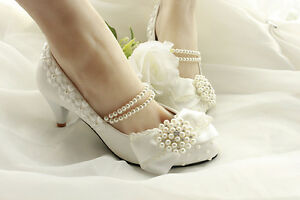 Lace satin bow Wedding shoes Bridal flats low high heel pump wedge size 5-11