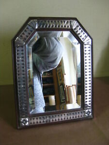 ANTIQUE ART DECO ROSE WOOD & SILVER MIRROR FRAME CADRE RAHMEN 1930s