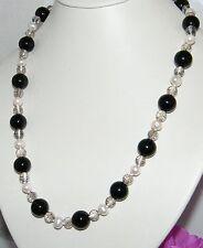 LUMINOSA LUNGA COLLANA donna mega perle agata nera CRISTALLO PERLE NATURALI