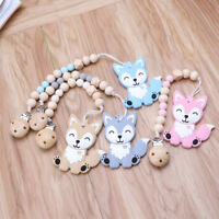 Silicone Teether Beads Pacifier Chain Clip Baby Teething Ring Baby Pacifier Clip