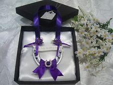 REAL WEDDING HORSESHOE LUXURY CADBURY PURPLE  DIAMANTE HORSESHOE Gift Box & Tag