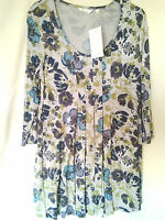 Adini Viscose/Lycra tunic 3/4 sleeves scoop neck inverted pleating to front XS