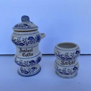 Vintage Blue Onion Porcelain Sugar & Instant Coffee Set (2pcs) - Ships Fast