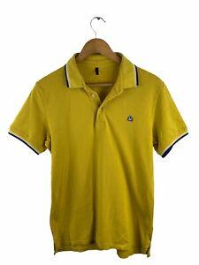 Benetton Polo Shirt Men's Size L Yellow Casual Golf Collared Short Sleeve Button