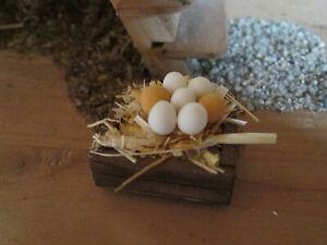Krippenzubehör - Eierkiste mit 7 Eiern -Holz gebeizt -