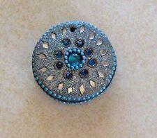 Vintage Round Pendant Indian Mirrors Blue Silver Hindu God Thick Bead Rhinestone