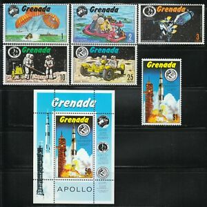 Grenada 1971 Sc 421-427 US moon missions of Apollo 13, 14 and 15. **