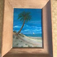 "Beatrice Elliot ""Florida Seashore Scene"" Oil On Board Painting - Signed/Framed"