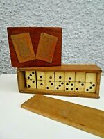 Antique Bone & Ebony Dominoes 28 Set & Oak Playing Card Case with Card Decals