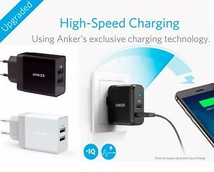 ANKER PowerPort2 24W/4.8A USB Wall Charger PowerIQ + Micro USB cable EU version