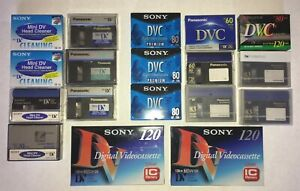 Sony and Panasonic Assorted Mini DV Tapes, DV Cam and head cleaners