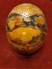 "SATSUMA Style  6"" Geisha Egg Hand Painted Chinese Oriental Porcelain"