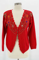 Vtg SPICE OF LIFE Womens Red Angora Rabbit Beaded Jeweled Cardigan Sweater Sz M