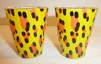 Lot of 2 Funky Design Shot Glasses Yellow Orange Black Set Cheetah Animal Print