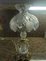 Vintage glass electric lamp Made In Romania w/brass accents & marble base 18""