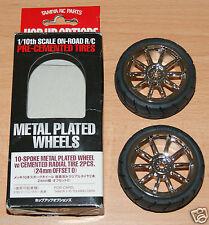 Tamiya 53956 10 habló De Metal Plateado Rueda w/cemented neumáticos radiales para camiones 2 un.. (24mm Off