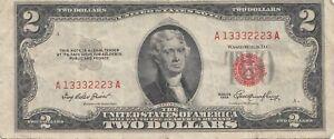 USA Billet de 2 dollar 1953 Série A 13332223  A  RARE