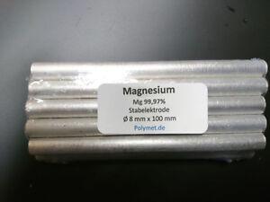 10 St. Magnesium Rundstäbe, Mg reinst 99,97% - 8 x 100mm Metall Element Anode