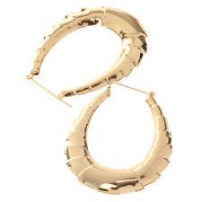Vintage Gold Plated Hoops Bamboo Earring Door Knocker Hoop Hollow Jewelry