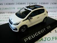 PE2H VOITURE 1/43 NOREV : PEUGEOT 108 2014 5p blanc toile red purple