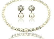 Elegant cream shade white jewellery set earrings and choker full pearls necklace