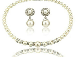 Elegant cream shade white jewellery set earrings and choker full pearls necklace