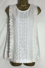 Dorothy Perkins Ivory Jersey Lined Sleeveless Lace Top Size 12 New