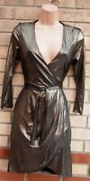 NEW LOOK METALLIC SILVER WRAP FRONT BELTED BODYCON LONG SLEEVE PARTY DRESS 6 XS