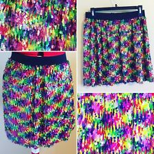 Colorful Short Sequin Skirt by Romeo & Juliet Couture Size M Rainbow Sparkle