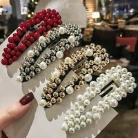 Wholesale Pearls Hairpins Long Barrettes Hair Clip Crystal Metal Hollow Hairgrip
