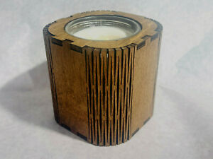 Natural soy candle  crackle wood wick scented living hinge design