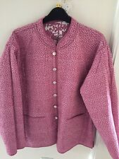 ladies Orvis reversible pretty pink lightly quilted jacket cardigan large new