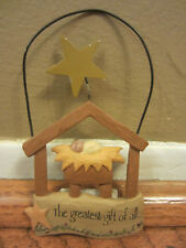 NWT BLOSSOM BUCKET NATIVITY CHRISTMAS ORNAMENT RUSTIC PRIMITIVE GREATEST GIFT