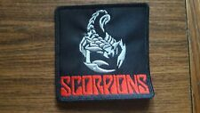SCORPIONS + LOGO,SEW ON RED AND SILVER EMBROIDERED PATCH